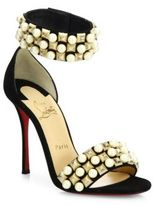 Christian Louboutin Tudor Bal Studded Suede Ankle-Strap Sandals