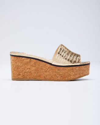 Jimmy Choo Deedee Metallic Cork Platform Sandals