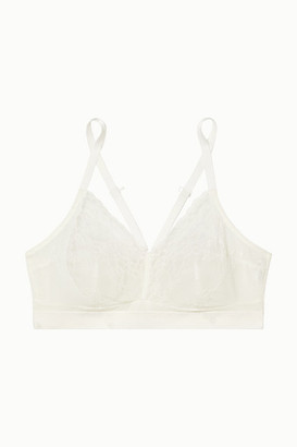 Spanx Spotlight Lace-paneled Stretch-mesh Soft-cup Bra - White
