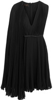 Giambattista Valli Satin-trimmed Pleated Silk-georgette Dress - Black