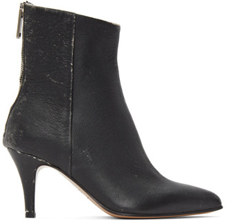 MM6 MAISON MARGIELA Black Distressed Leather Heeled Boots