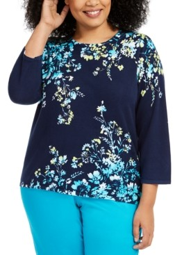 Alfred Dunner Plus Size Easy Street Printed 3/4-Sleeve Sweater