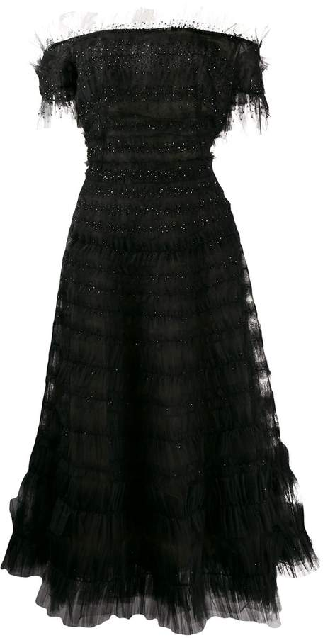 Marchesa Off Shoulder Tulle Dress