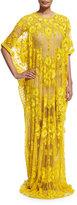 Naeem Khan Half-Sleeve Floral-Embroidered Caftan, Yellow