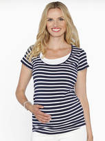 Angel Maternity Navy And White Maternity And Breastfeeding Top