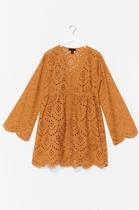 Nasty Gal Womens Hole New World Oversized Broderie Dress - Natural