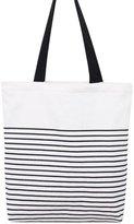 Caixia Women's Black Stripe Print Canvas Tote Bag Shoulderbag White (red-zip)