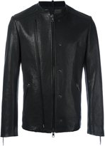 Tom Rebl double zipped collarless jacket - men - Cotton/Leather/Polyester/Viscose - 50