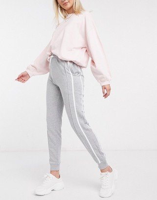 New Look side stripe jogger in gray
