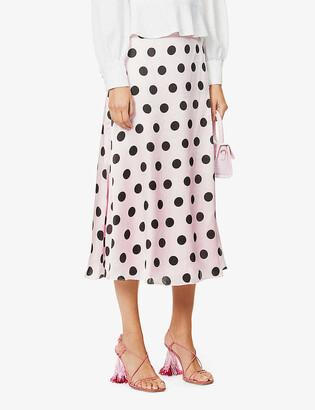 Olivia Rubin Penelope polka-dot silk-satin midi skirt