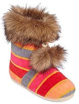 JCPenney Faux-Fur Pom Pom Boot Slippers
