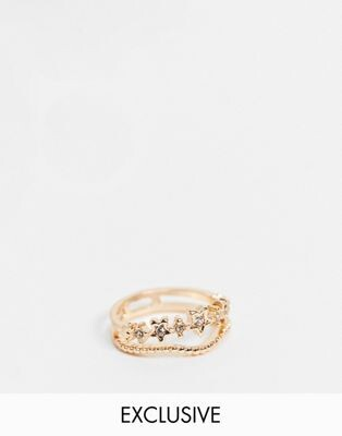 Reclaimed Vintage inspired the ring with star detail in gold