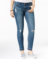 Dollhouse Juniors' Paint Splatter Ripped Skinny Jeans