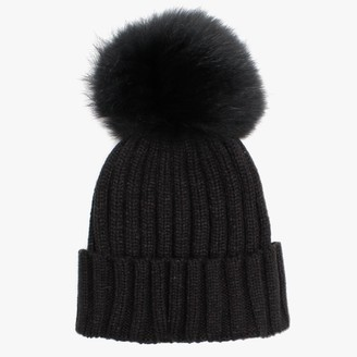 Little Red Black Pom Pom Hat