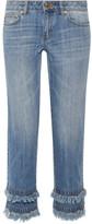 MICHAEL Michael Kors Frayed Cropped Boyfriend Jeans - Indigo