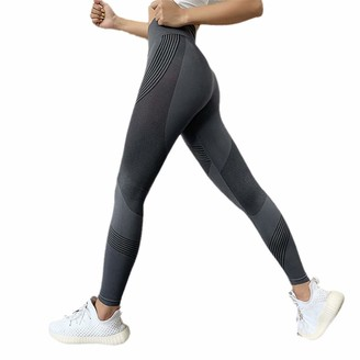 Kevents Women High Waist Gym Leggings Quick Drying Sports Stretch Fitness Pants Gray M