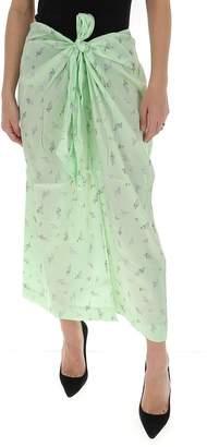 Ganni Floral Print Wrap Maxi Skirt