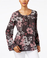 Style&Co. Style & Co Petite Printed Tie-Neck Top, Only at Macy's