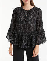Max Studio Frill Sleeve Dot Blouse, Black/White