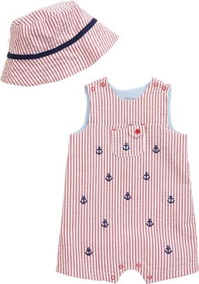 Little Me Anchor Stripe Romper & Sun Hat Set
