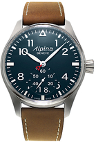 Alpina Al-280n4s6 Startimer Pilot Big Date Leather Strap Watch, Brown/dark Blue