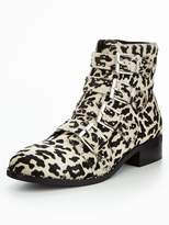 Very Nina Real Leather Studded Ankle Boot - Animal