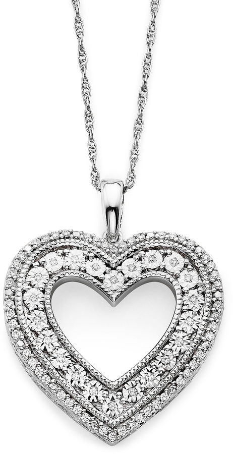 JCPenney FINE JEWELRY 1/10 CT. T.W. Diamond Sterling Silver Heart Pendant Necklace