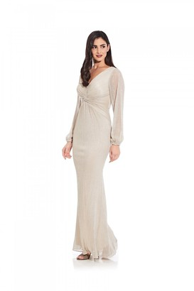 Adrianna Papell Glitter Knit Draped Gown