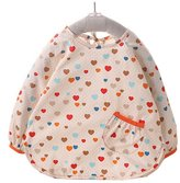 Kylin Express Lovely Heart Baby Long-sleeves Feeding Clothes Baby Bibs,Off-white