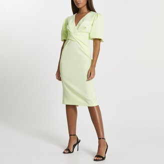 River Island Womens Green twist front bodycon midi dress
