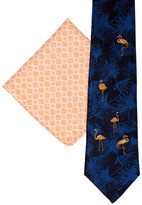 James Harper FLAMINGO & GEO TIE AND POCKET SQUARE SET
