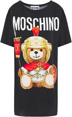 Moschino Shirred Printed Stretch-jersey Mini Dress
