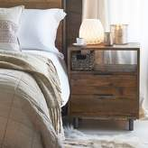 LOMBOK Baxter Round Industrial Two Drawer Bedside Table