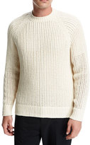 Vince Open-Weave Crewneck Sweater, Off White
