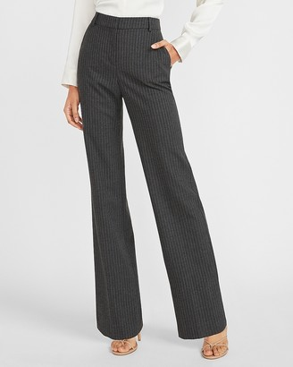 Express High Waisted Striped Stretch Wide Leg Flannel Pant