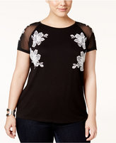INC International Concepts Plus Size Embroidered Top, Only at Macy's