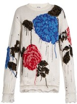 MSGM Floral-intarsia wool-blend sweater