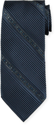 Stefano Ricci Crystal Pleated Silk Tie