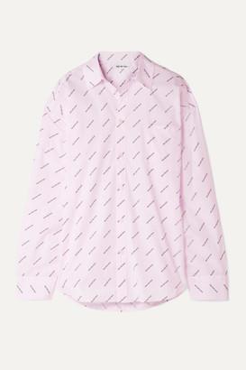 Balenciaga Oversized Striped Printed Cotton Shirt - Pastel pink