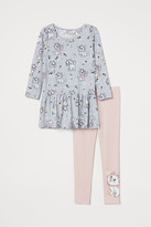 H&M 2-piece Cotton Jersey Set - Gray