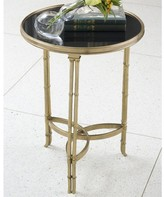 The Well Appointed House Global Views Double Bamboo Leg Accent Table in Brass with Black Granite Top