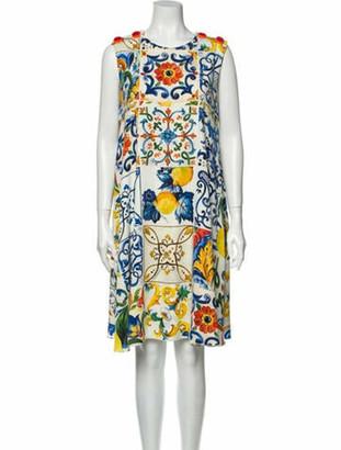Dolce & Gabbana Silk Knee-Length Dress White