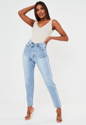 Missguided Light Blue Highwaisted Asymmetric Fasten Jeans