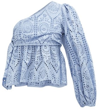 Ganni One-shoulder Balloon Sleeve Broderie Anglaise Top - Womens - Light Blue