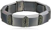 "Kenneth Cole New York Modern Essentials Hematite"" Pave Square Hematite Stretch Bracelet"