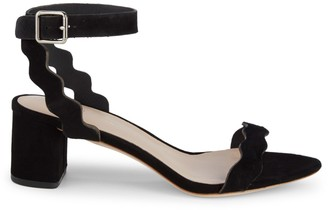 Loeffler Randall Emi Scalloped Suede Block-Heel Sandals