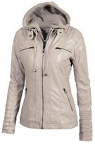 Cityelf Women's Detachable Collar Long Sleeve Solid Color Leather Jacket Coat WTW0050 (XL, )