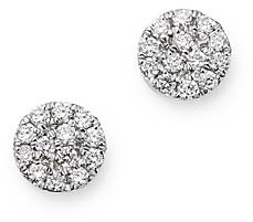 Meira T 14K White Gold Diamond Cluster Disc Stud Earrings