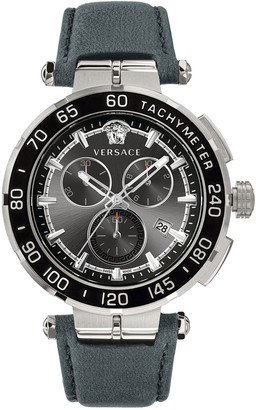 Versace Men's 45mm Greca Chrono Watch w/ Leather Strap