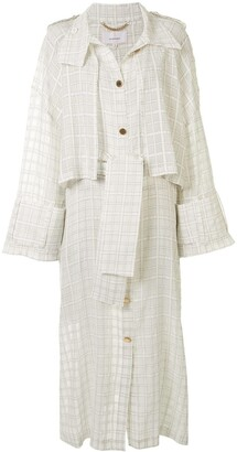 AKIRA NAKA Sheer Check Trench Coat